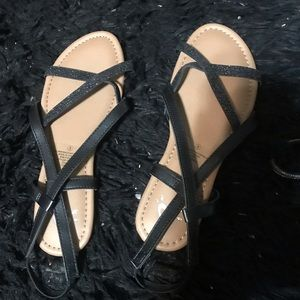 Girls cute black sandals